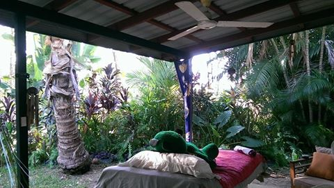 Green Ted on the reiki bed in my tropical oasis