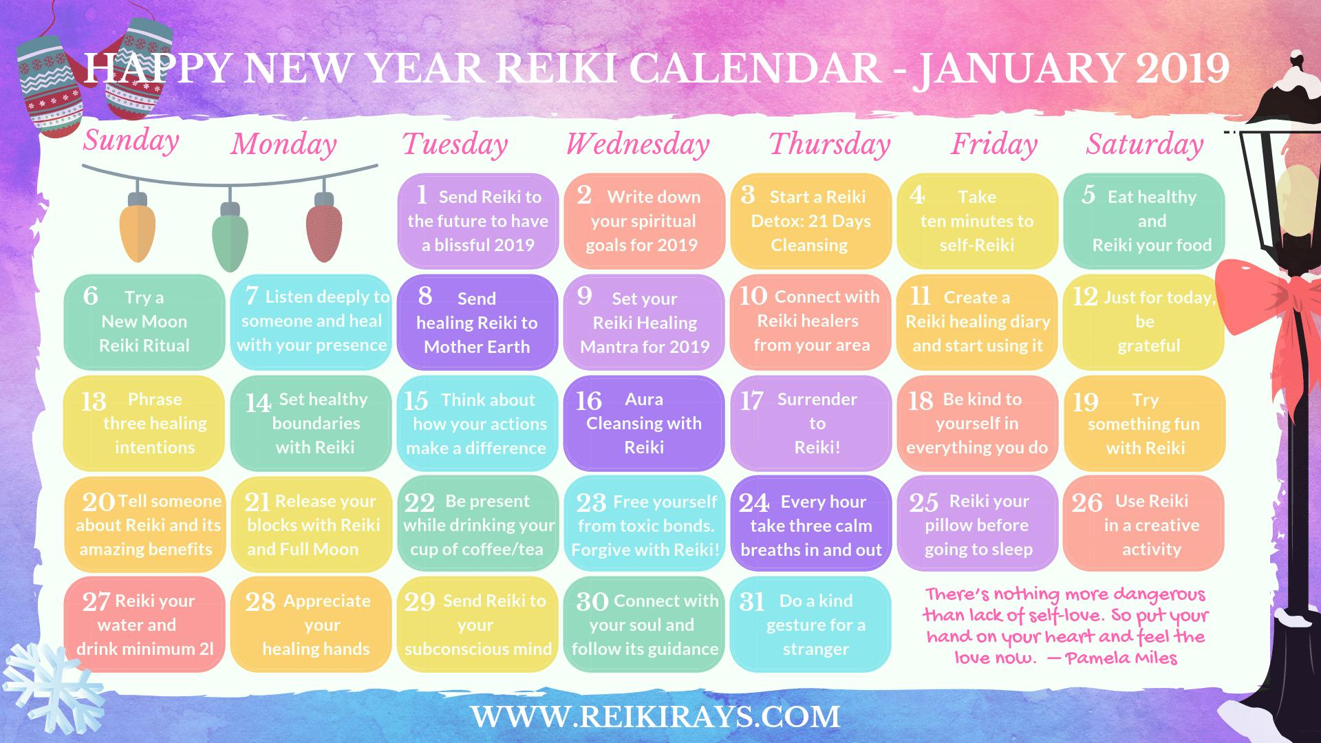Reiki Calendar - January 2019