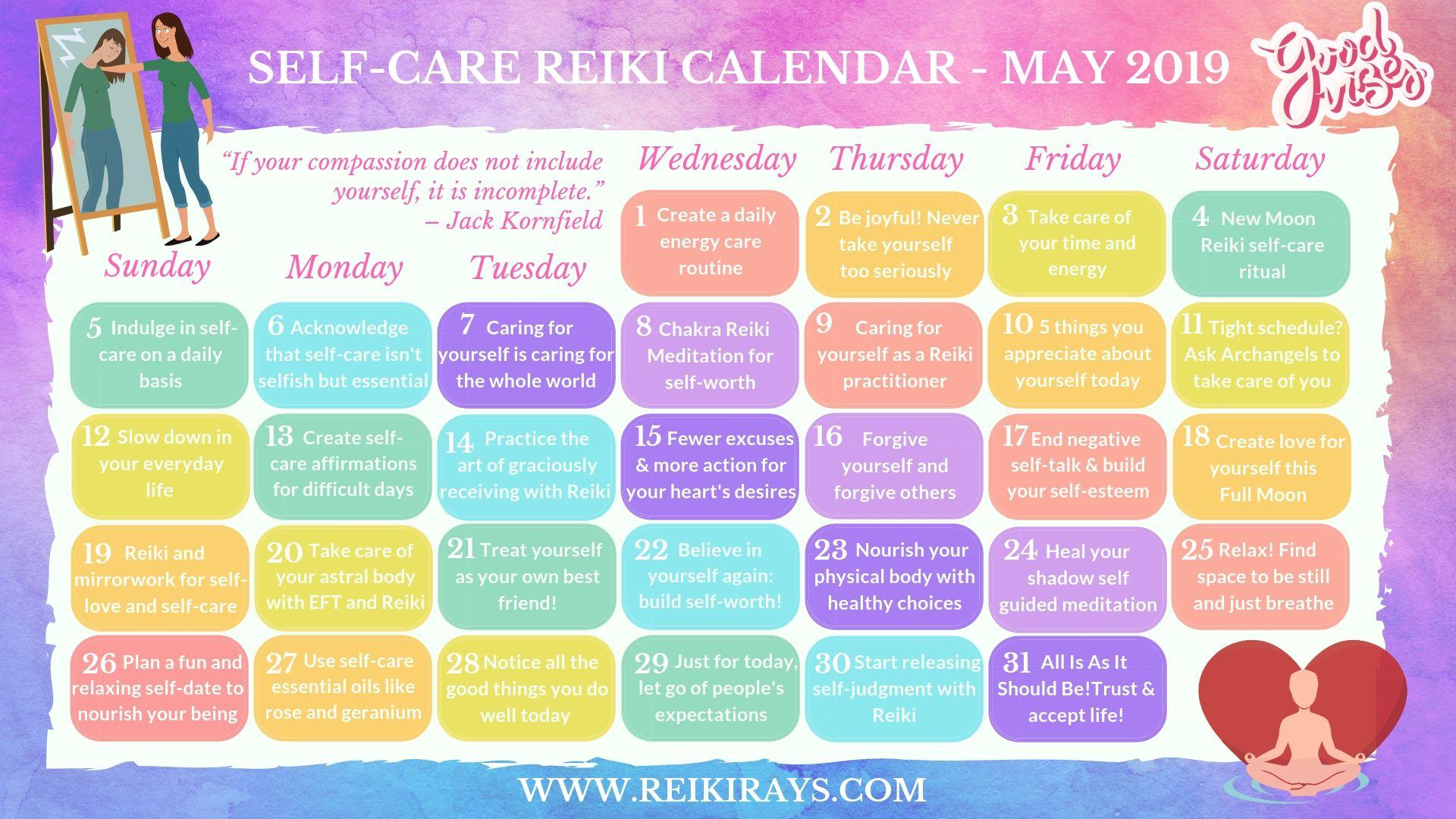 Self-Care Reiki Calendar May 2019 - Reiki Rays