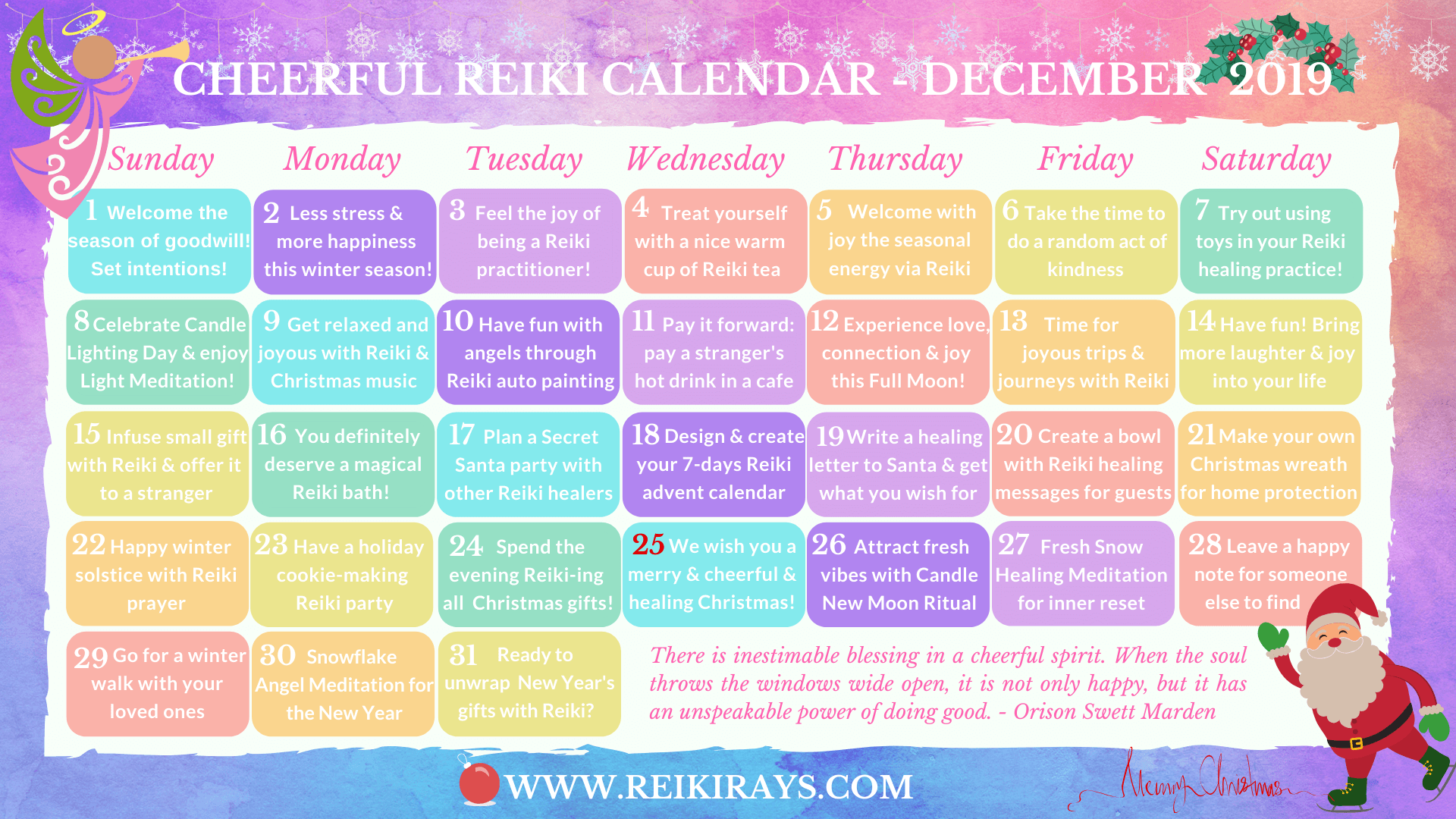 Cheerful Reiki Calendar December 2019