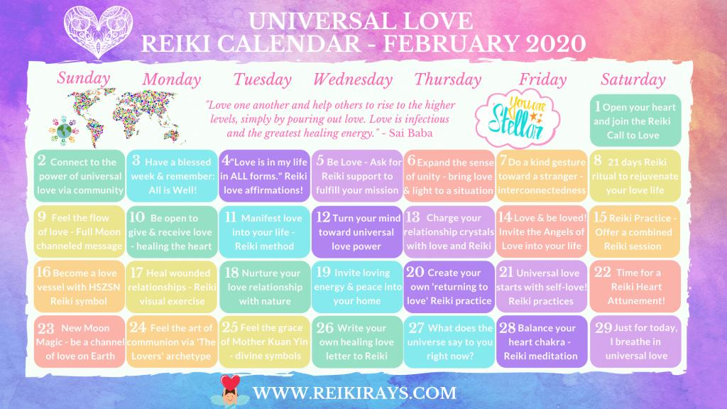 Universal Love Reiki Calendar February 2020