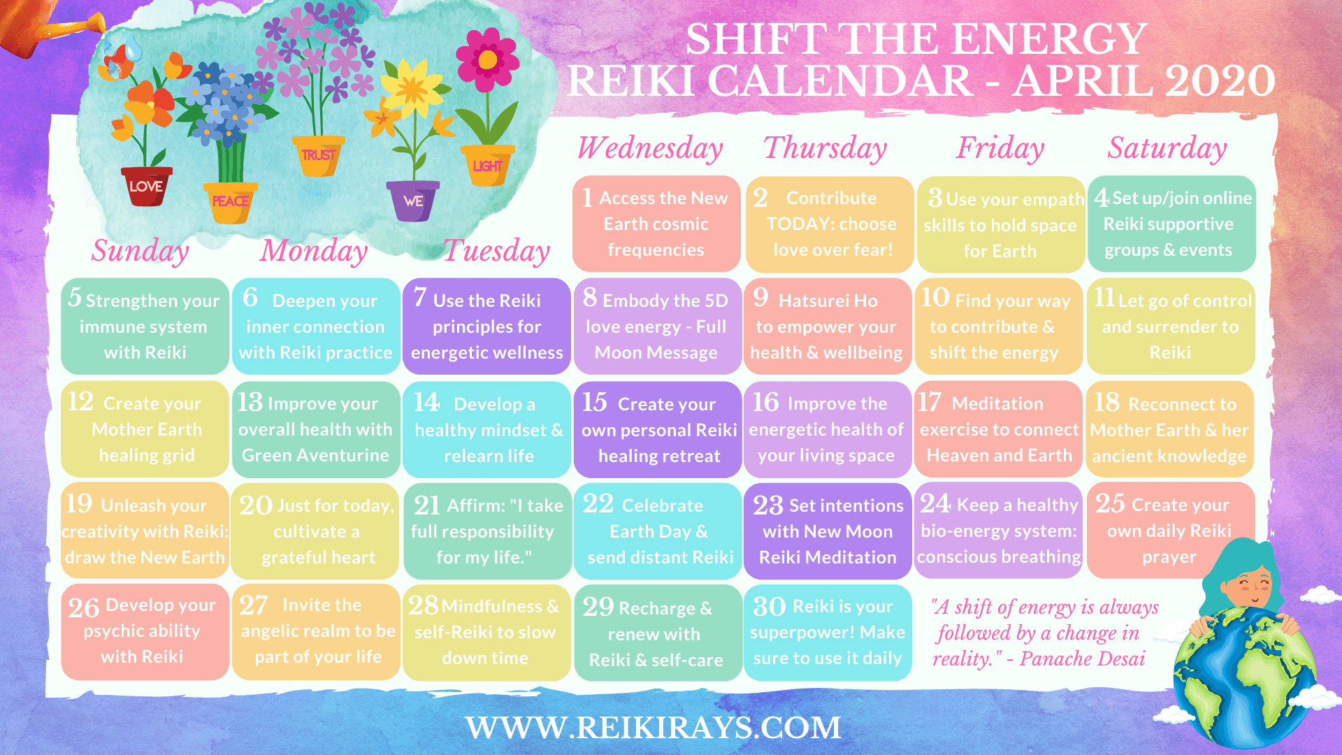 Shift the Energy Reiki Calendar - April 2020