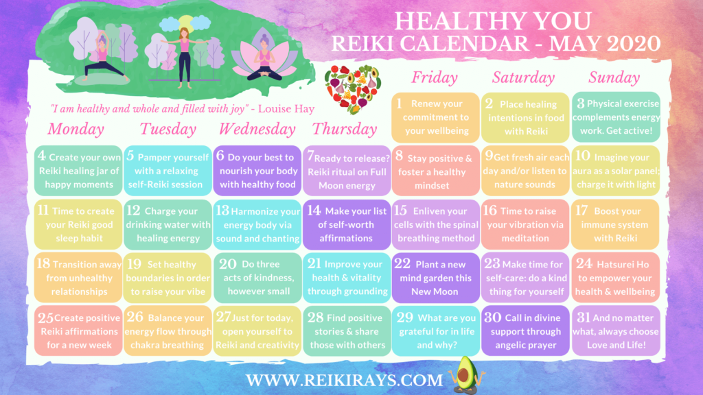 Healthy You Reiki Calendar - May 2020