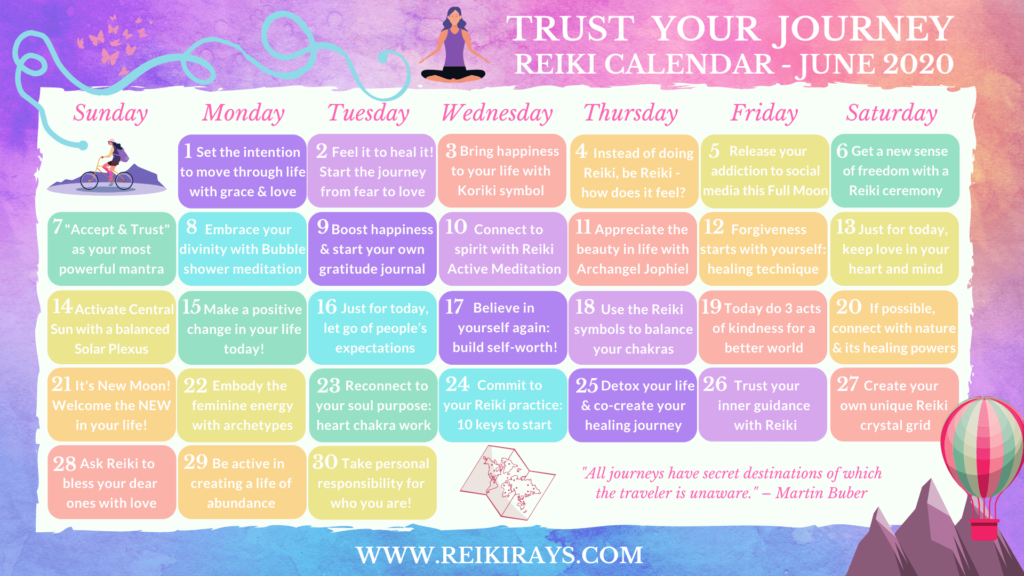 Trust your Journey Reiki Calendar - June 2020
