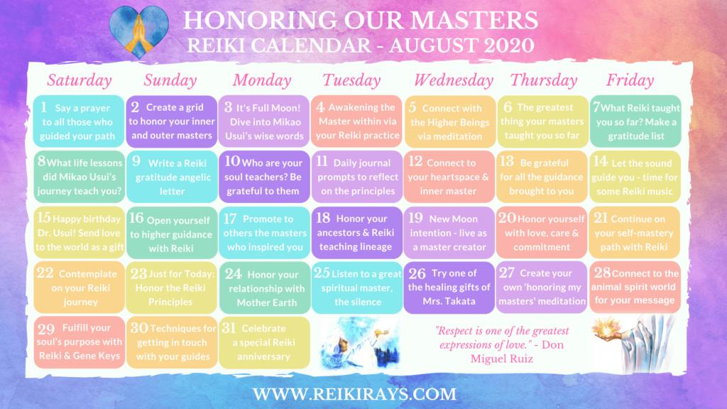Honoring our Masters Reiki Calendar