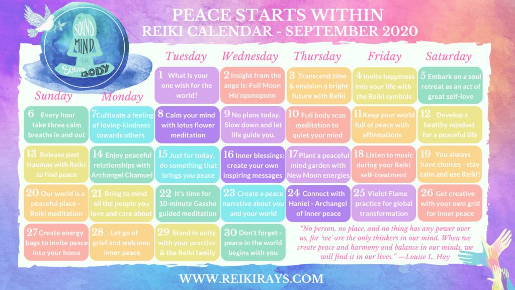 Peace Starts Within Reiki Calendar